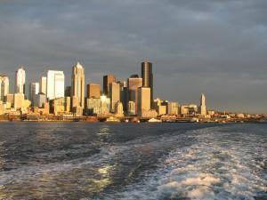 Seattle from the Bainbridge Ferry by Jen Pells