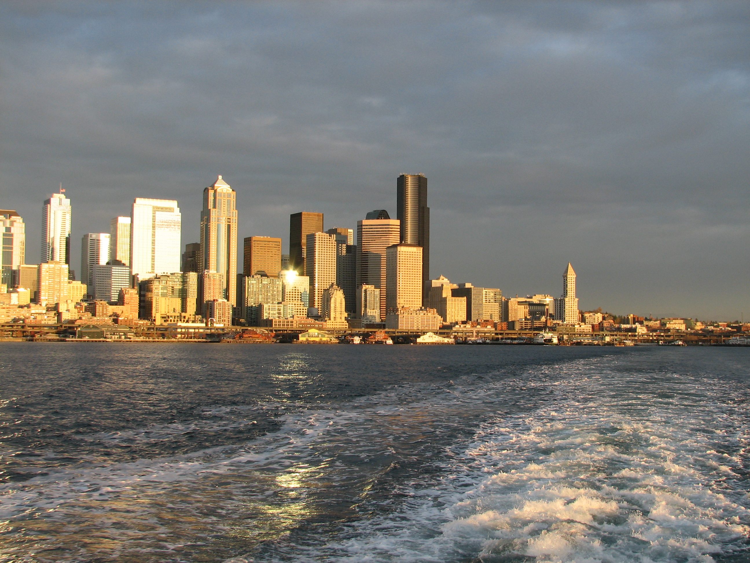 Seattle from the Bainbridge Ferry by Jen Pells
